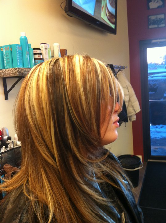 Light Blonde Hair With Chunky Lowlights Low lights in your hair.
